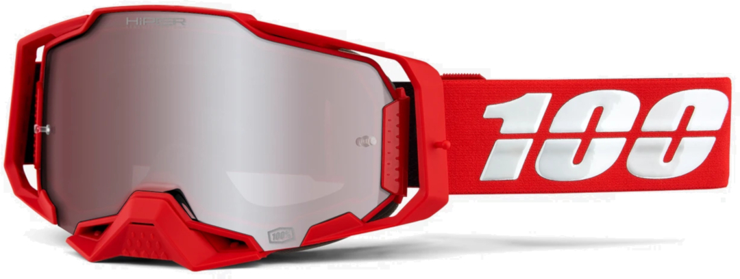 100% Armega Hiper Red Motocross Brille, weiss-rot, weiss-rot