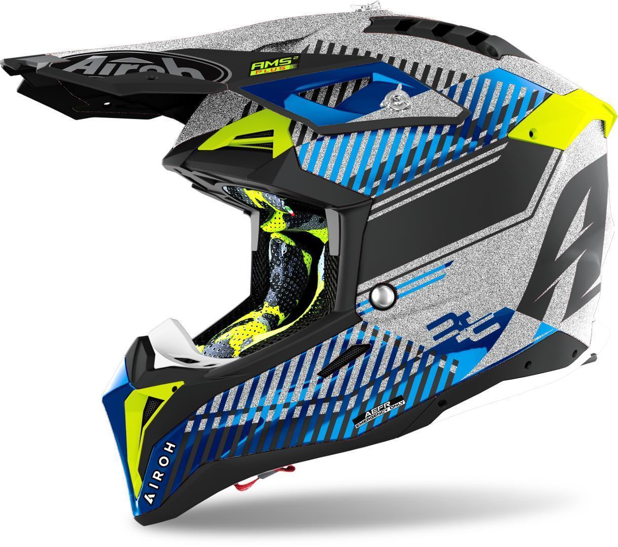 Airoh Aviator 3 Wave Carbon Motocross Helm, silber, Größe S, silber, Größe S