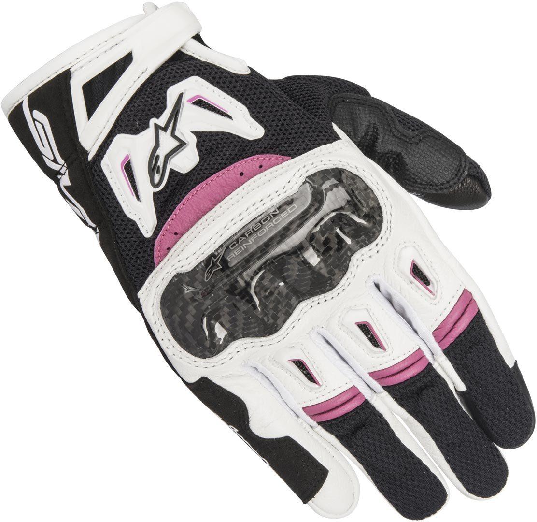 Alpinestars Stella SMX-2 Air Carbon V2 Damen Handschuhe, schwarz-weiss-lila, Größe L, schwarz-weiss-lila, Größe L