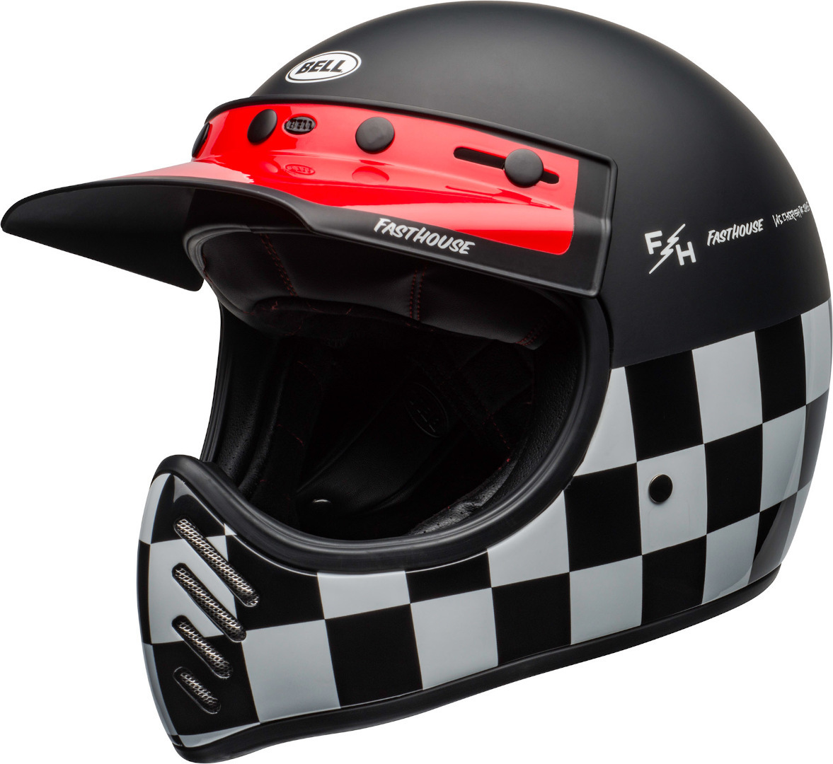 Bell Moto-3 Fasthouse Checkers Trial Helm, schwarz-weiss-rot, Größe S, schwarz-weiss-rot, Größe S