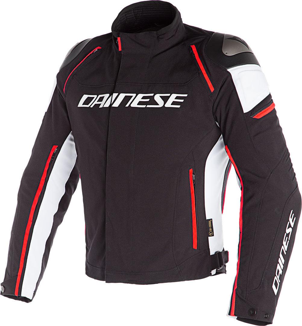 Dainese Racing 3 D-Dry Motorrad Textiljacke, schwarz-weiss-rot, Größe 60, schwarz-weiss-rot, Größe 60